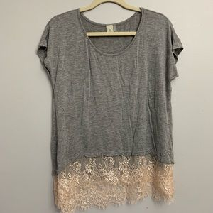 Tops - Paper Crane Clothing grey and lace tee
